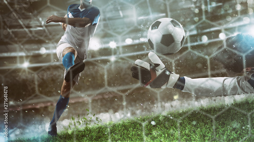 фотографія  Goalkeeper catches the ball in the stadium during a football game