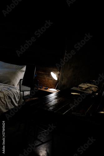 Garden Poster Fantasy Landscape bed in dark room on film simulation