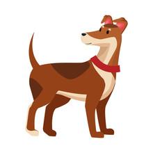 Brown Dog Icon Cartoon Isolated