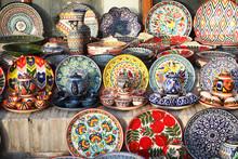 Multi Colored Dishware On Sale In Bukhara, Uzbekistan