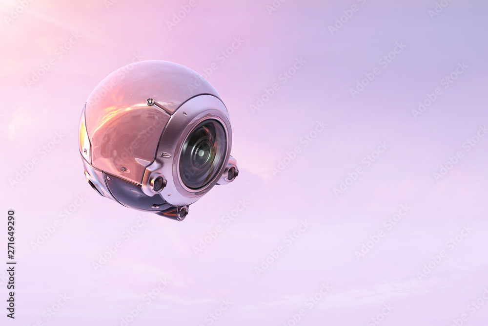 Fototapeta Robot spy bot drone with camera, flying, photographing, filming. Future technology, spy, military, artificial intelligence concept.  3D illustration.