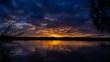 couché de soleil sur un lac