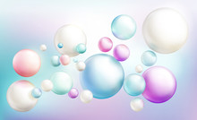 Soap Bubbles Or Opaque Colorful Glossy Spheres Randomly Flying On Rainbow Colored Defocused Background. Magical Pearly Balls, Abstract Kids Bright Dreamy Pattern. Realistic 3d Vector Illustration