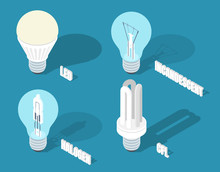 Vector Isometric Illustration Of Main Electric Lighting Types: Incandescent Light Bulb, Halogen Lamp, Cfl And Led Lamp.