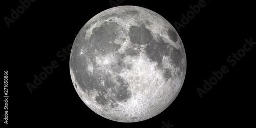 Fotografie, Obraz Moon Full black background