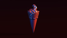 Silver Ice Cream With Red Blue Moody 80s Lighting Front 3d Illustration 3d Render