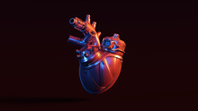 Silver Artificial Cyborg Heart With Red Blue Moody 80s Lighting Front 3d Illustration 3d Render