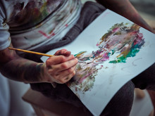 Hand Painting In Smeared Paper In Workshop