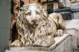 Close-up of one of the lions placed on the sides of the staircase of the medieval Cathedral of St Lawrence (9-14th centuries), by the sculptor Carlo Rubatto (1840), Genoa, Liguria, Italy