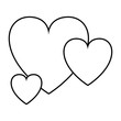 red heart icon cartoon isolated black and white