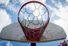 Underneath Basketball Hoop