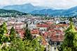 Stadtansicht von Luzern, Jesuitenkirche und Alpen, Luzern, Schweiz