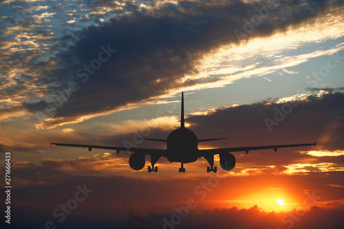 Tuinposter large passenger plane and clouds at sunset
