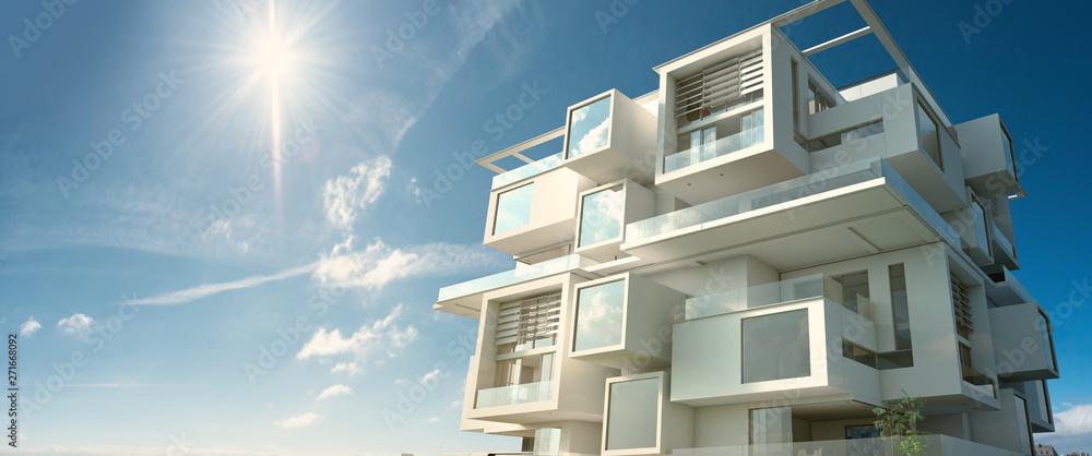 Fototapeta Modern module apartment  block