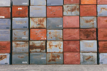 Stack Of Rusty Metal Containers ,Stack Of Rusty Metal Containers Used For Apple Storage During Harvest