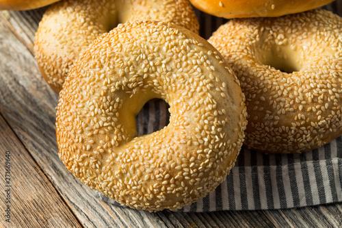 Fotografie, Obraz  Homemade Sesame Seed Bagels