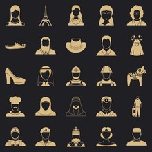 Townsman Icons Set. Simple Set Of 25 Townsman Vector Icons For Web For Any Design