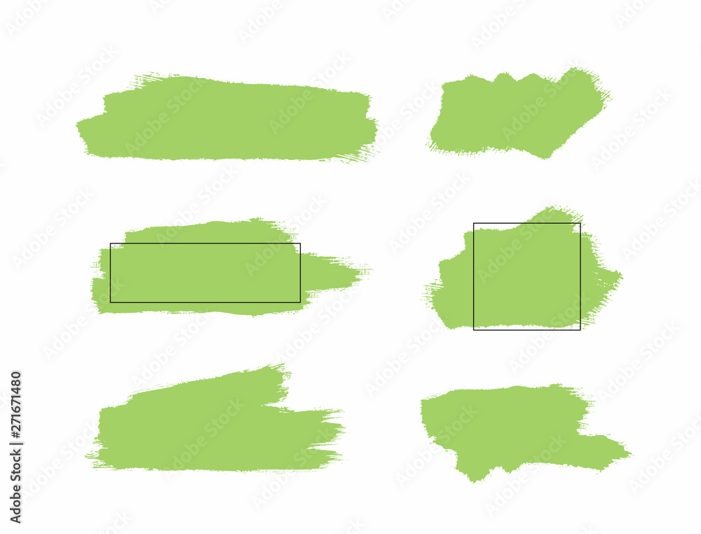 Fototapety, obrazy: Set of green isolated paint stains and watercolor templates with frames. Grunge, sketch, splash.