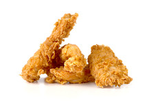 Fried Chicken Fillets On A Whi...