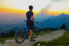 Unrecognizable Mountain Biker ...