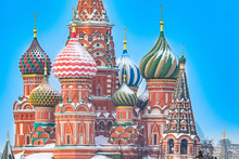 Moscow. Russia. Winter St. Basil's Cathedral Snow-covered Domes. Pokrovsky Cathedral Close Up. Winter Red Square. Russian Cities. Russian Architecture Moscow Monuments. Moscow Capital Of Russia.