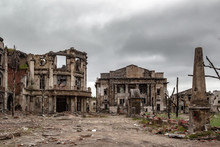 Destroyed House. Remains Of Old Houses. Ruin. Apocalypse. Abandoned City. Ghost Town.