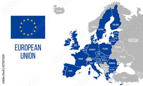 Obraz European Union political map. EU flag. Europe map isolated on a white background. Vector illustration - fototapety do salonu