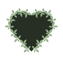 Oak Leaves And Heart Shape Frame. Dark Heart Is Entwined With Green Leaves. Suitable For Invitations, Cards, Quotes, Blogs, Posters, Highlights And Others. Wedding Theme.