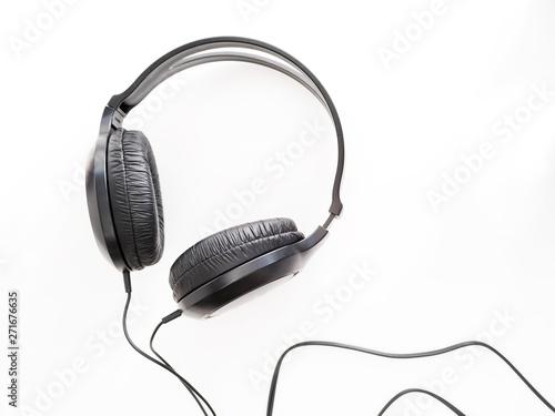 black headphones on white background - 271676635