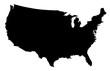 USA Map Black Silhouette