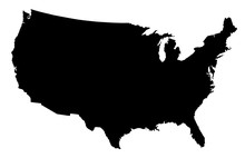 USA Map Black Silhouette