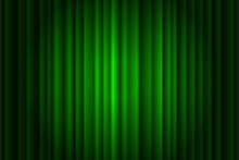 Closed Silky Luxury Green Curtain Stage Background Spotlight Beam Illuminated. Theatrical Drapes. Vector Gradient Illustration