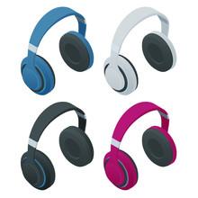 Isometric Headphones Isolated ...