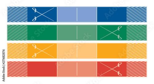 fencing piste in four colours Fototapeta