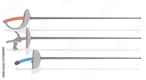 Photo  fencing swords, saber, foil, epee, isolated on white background