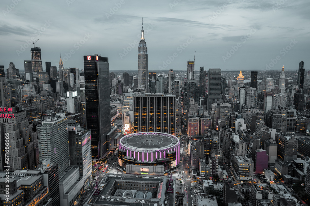 Fototapety, obrazy: view from top on Madison Square Garden and Empire State Building. Night Lights