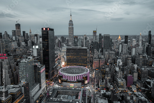 Fotografie, Obraz view from top on Madison Square Garden and Empire State Building