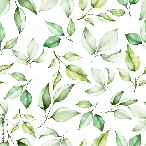 Tapeta zielona  watercolor-floral-and-leaves-seamless-pattern