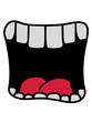 canvas print picture - mund schreien großes maul brüllen comic cartoon lustig witzig zähne zunge gesicht clipart design