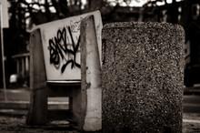 Graffiti On City Bench