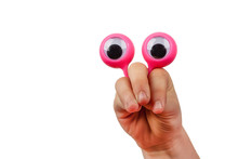 Surprised Face Made With Child Hand And Googly Eyes Isolated On White Background With Copy Space