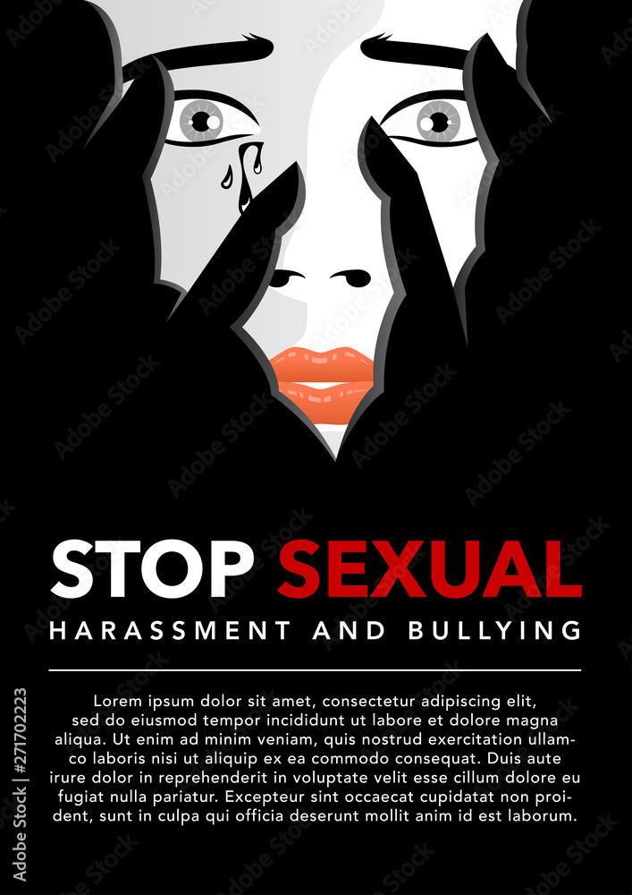 Fototapeta unhappy woman cries covering face with hands vector illustration. violence against women. sexual harassment concept