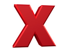The Red Letter X On White Background 3d Rendering