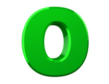 The Green Letter O On White Ba...