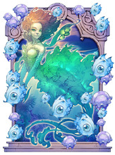 Mermaid, Fish, Seaweed, Starfi...
