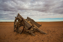 Vintage Wooden Wagon Abandoned In The Australian Outback
