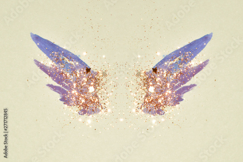 Fotobehang Vlinders in Grunge Glitter and glittering stars on abstract pink and blue watercolor wings in vintage nostalgic colors.