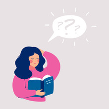 Young Girl Thinking About That She Reading In The Book And Has A Questions. Speech Bubble Above With Question Mark. Human Character Vector Illustration.