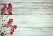 Small Red Flowers On A Branch On A Wooden Background.