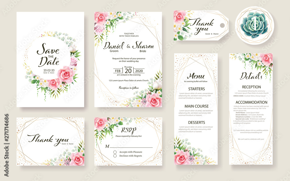 Fototapeta Floral Wedding Invitation card, save the date, thank you, rsvp, table label, tage template. Vector. Rose flower, Succulent, greenery plants.
